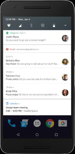 Android N новые возможности - пакеты уведомлений