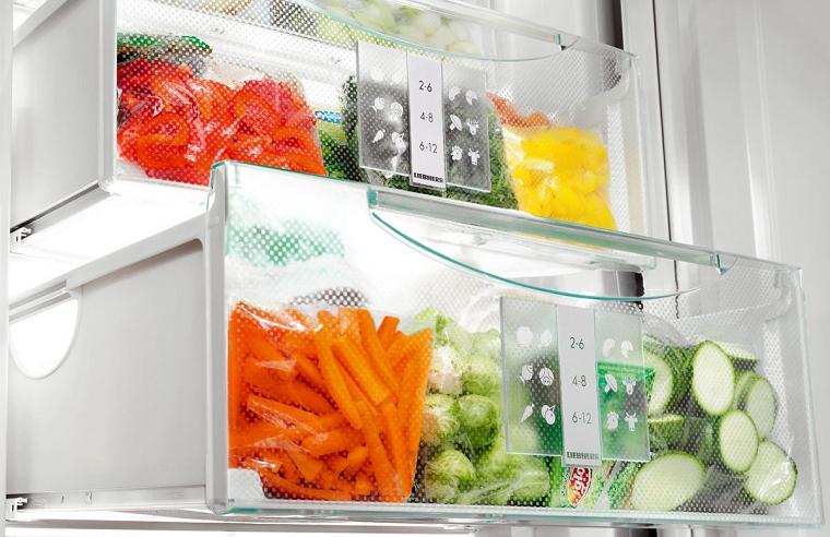 Морозильная камера и овощи
