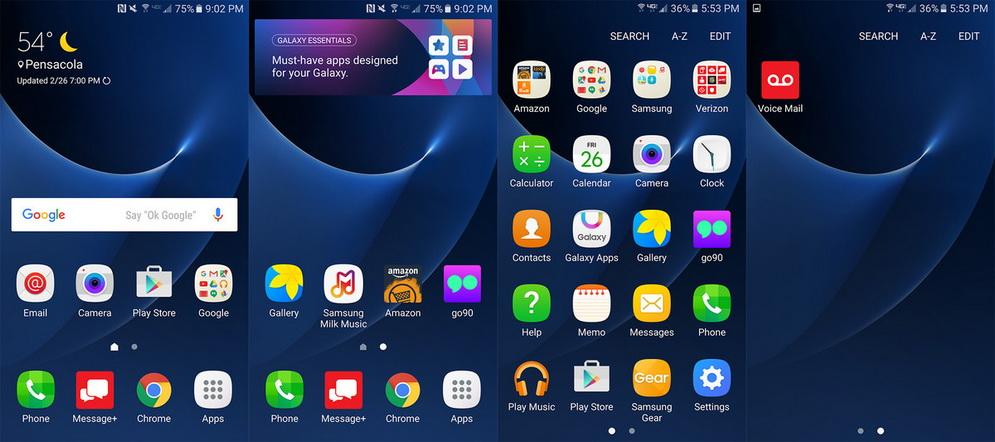 Samsung Galaxy S7-интерфейс скриншот