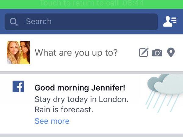 Facebook будет показывать погоду
