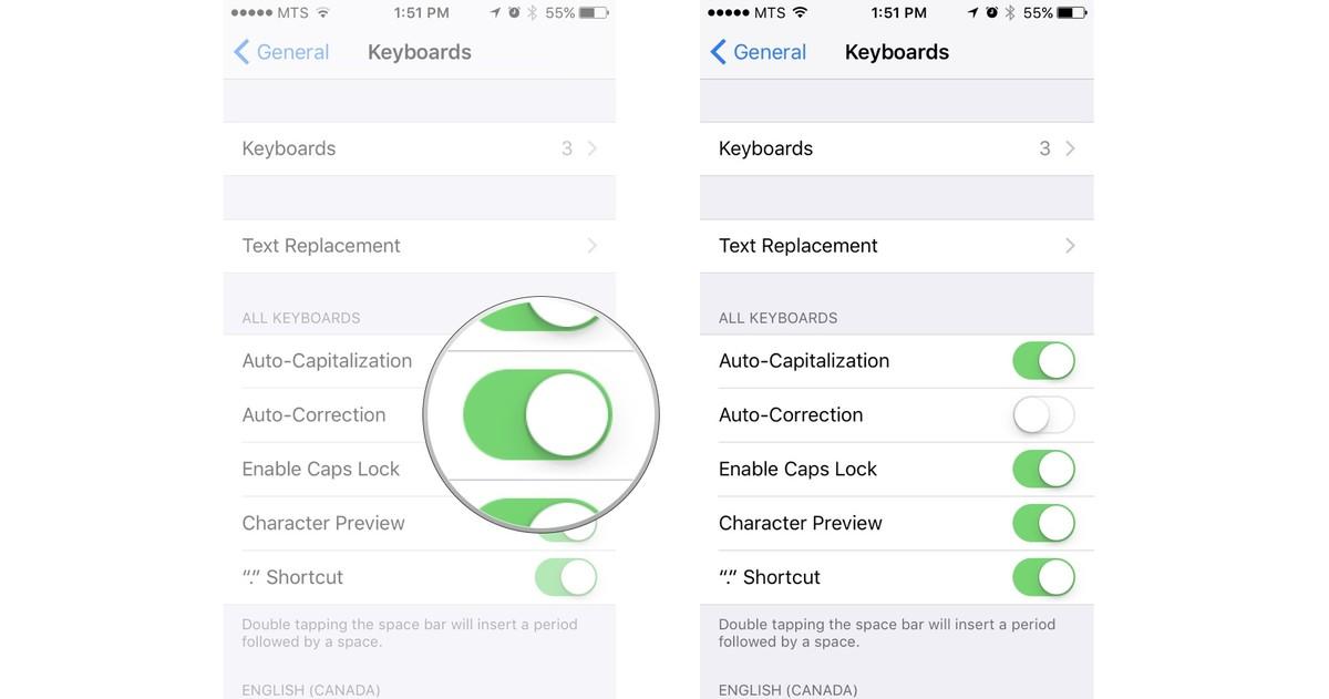 Как редактировать и форматировать текст на iPhone и iPad - Как отключить автокоррекцию (2)