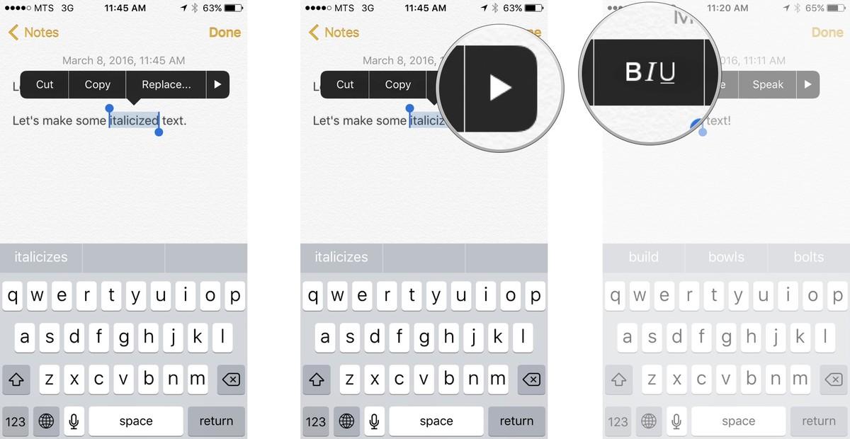 Как редактировать и форматировать текст на iPhone и iPad - Как выделить текст курсивом