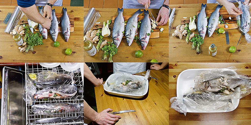 Приготовление рыбы в посудомоечной машине-в фото