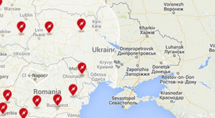 Supercharger в Украине в 2016 году - карта