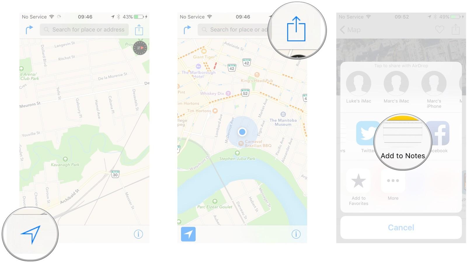 Как пользоваться Картами на iPhone и iPad - Добавить положение в заметки