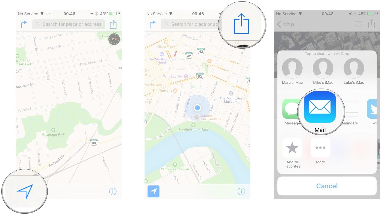 Как пользоваться Картами на iPhone и iPad - Отправить свое местоположение