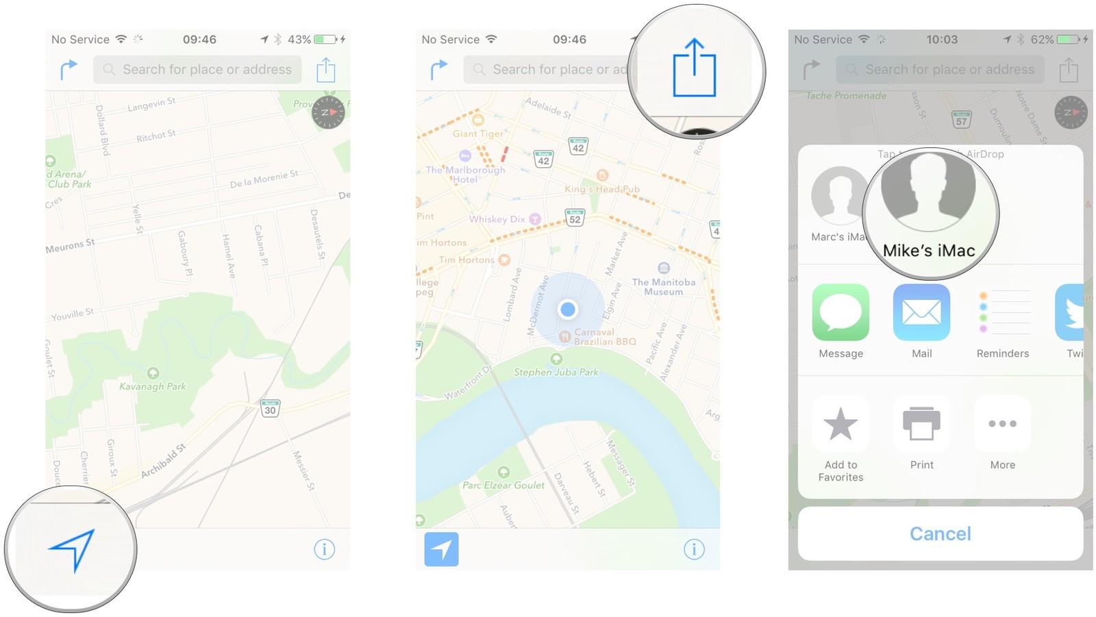 Как пользоваться Картами на iPhone и iPad - Поделиться местоположением с AirDrop