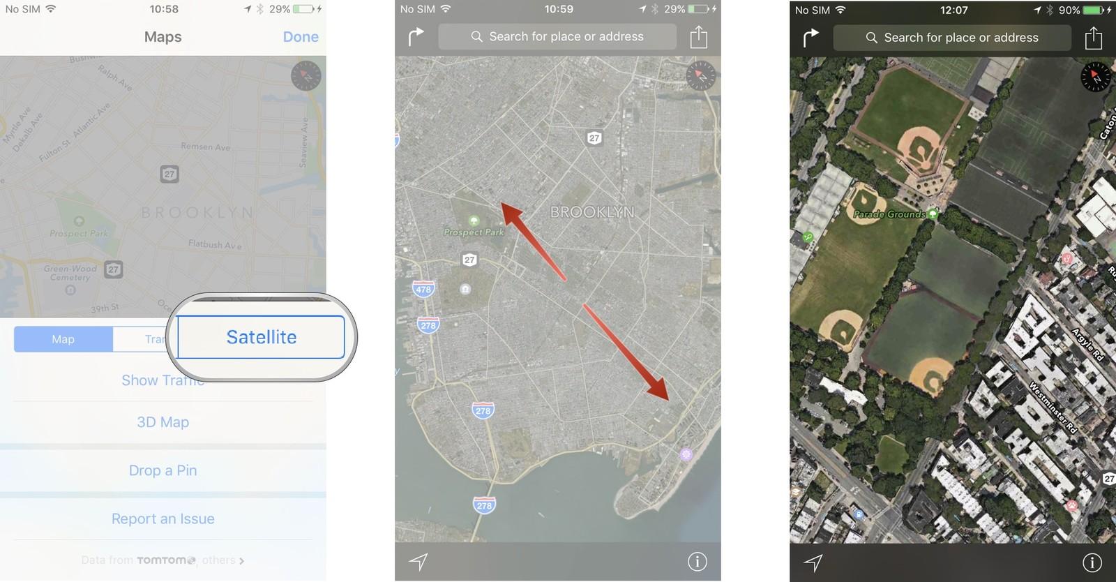 Как пользоваться Картами на iPhone и iPad - Вид со спутника