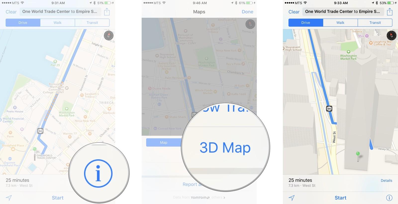 Как пользоваться Картами на iPhone и iPad - Выбор 3Д-карты