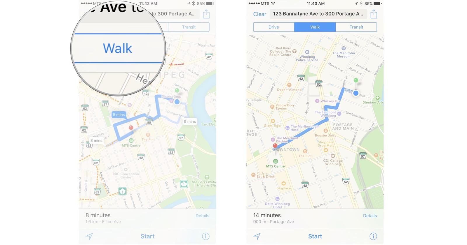 Как пользоваться Картами на iPhone и iPad - Выбор пешком, на авто или общ.транспорт