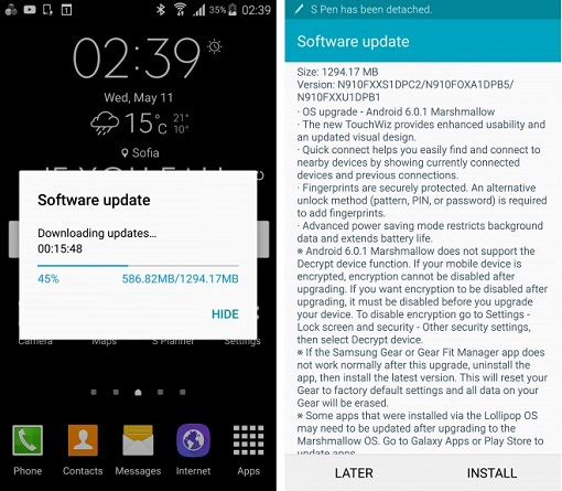 Samsung Galaxy Note 4 обновление - фото 1+2