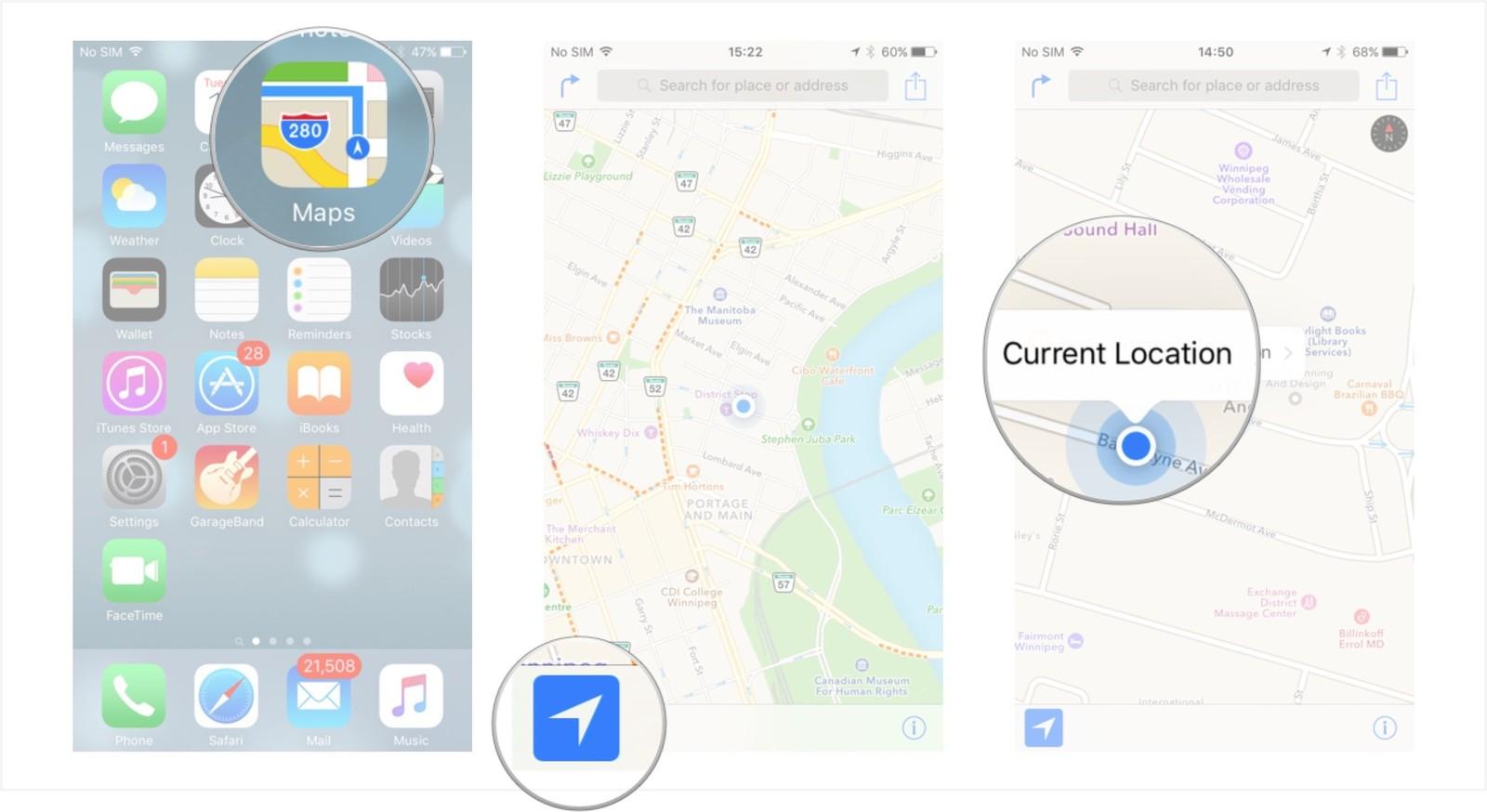 Как пользоваться Картами на iPhone и iPad - Определение текущего местоположения