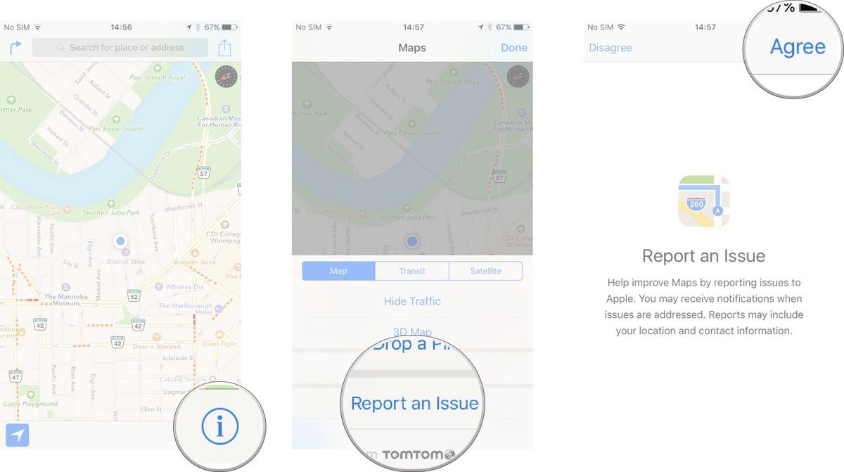 Как пользоваться Картами на iPhone и iPad - Отправить отчет об ошибке