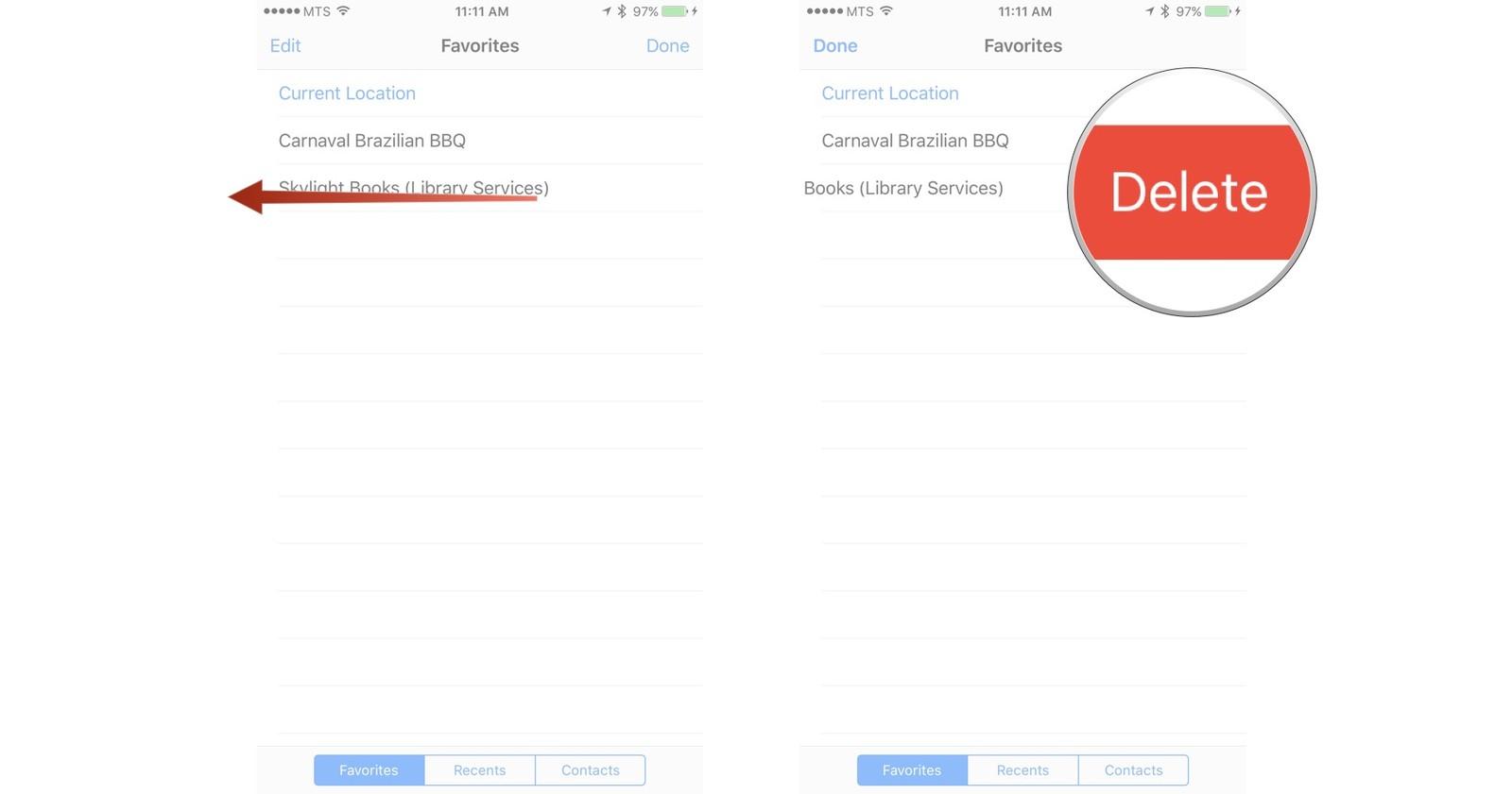 Как пользоваться Картами на iPhone и iPad - Удаление места из избранного