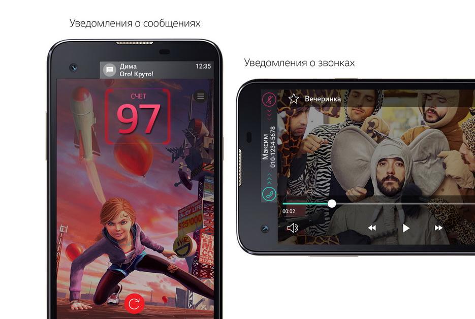 LG X View- Уведомления о сообщениях и уведомления о звонках