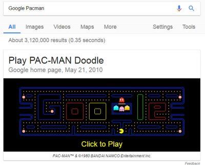 Пасхалка игра Pac-Man