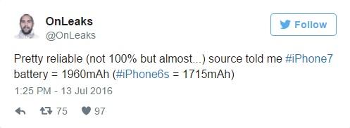 По слухам, iPhone 7 будет оснащен более емким аккумулятором, чем iPhone 6S - твиттер