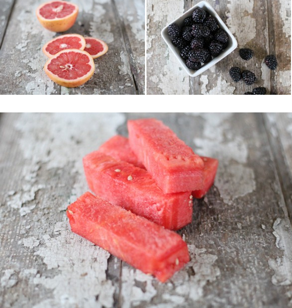 Салат из арбуза грейпфрута ежевики-ингредиенты