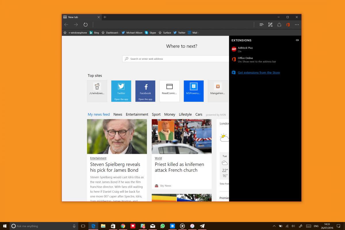 10 самых ярких нововведений грядущего обновления Windows 10 - Улучшения в браузере Microsoft Edge