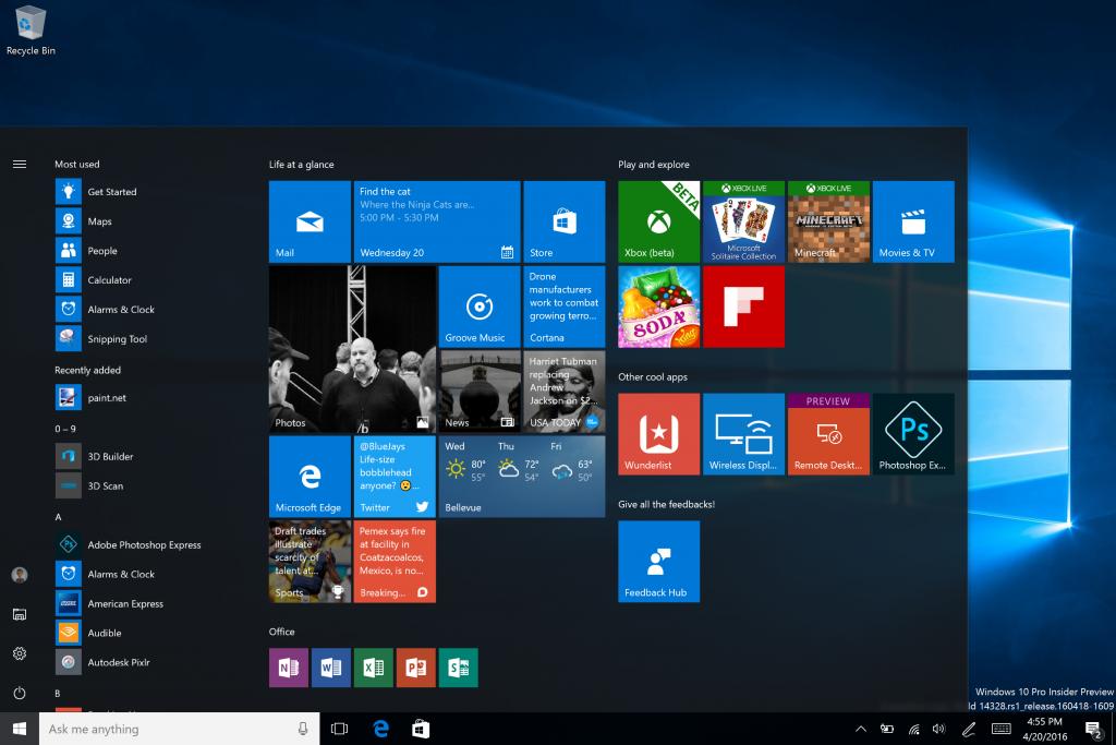 10 самых ярких нововведений грядущего обновления Windows 10 - меню Пуск