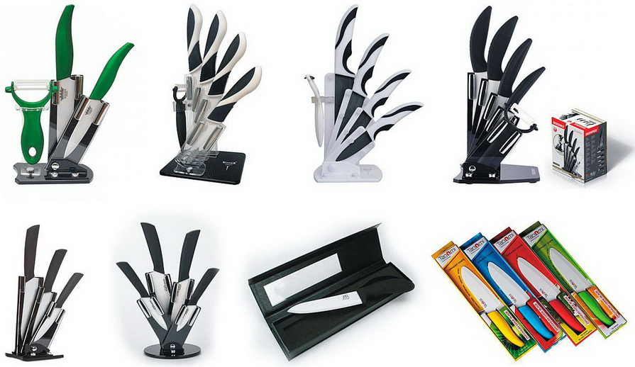 Керамические ножи-С подставкой и без