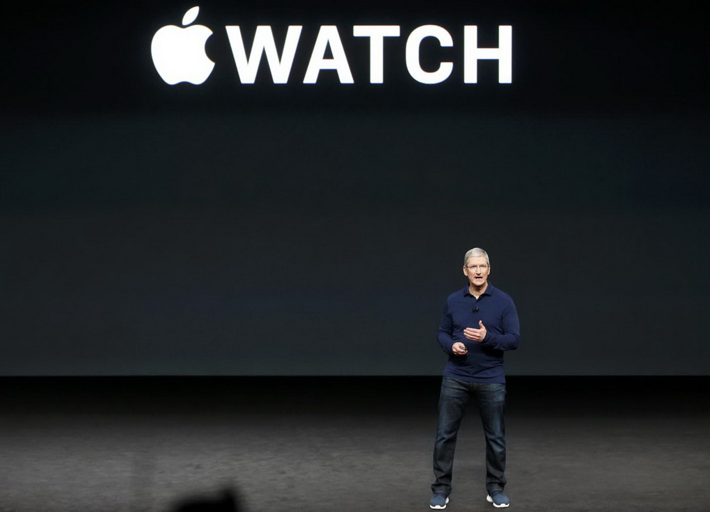 Tim Cook discusses the Apple Watch during a media event in San Francisco