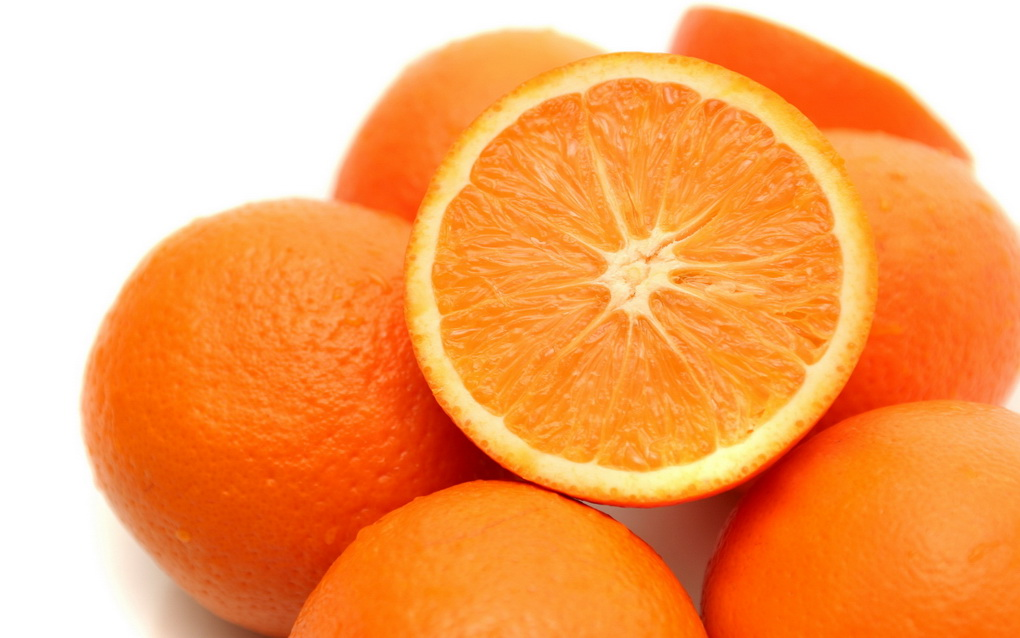 It is a lot of oranges on a white background