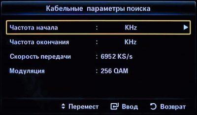 Данные для установки цифровых каналов на Смарт ТВ