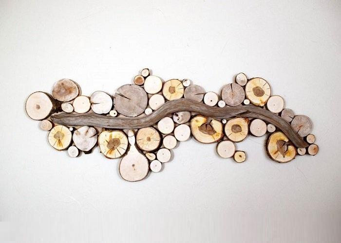 Поделки из спилов деревьев для интерьера 66