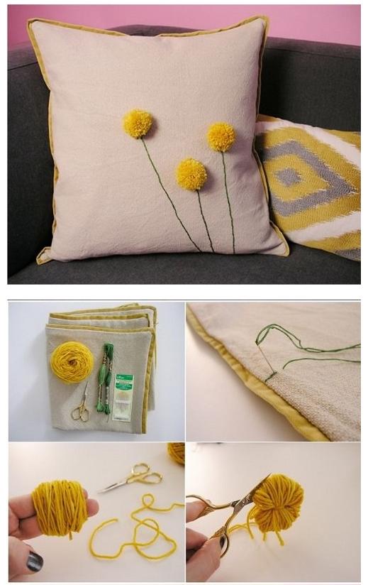 Декор диванной подушки-одуванчик из помпона
