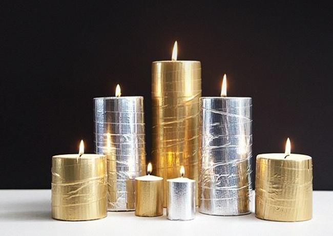 Декор свечей-скотчем