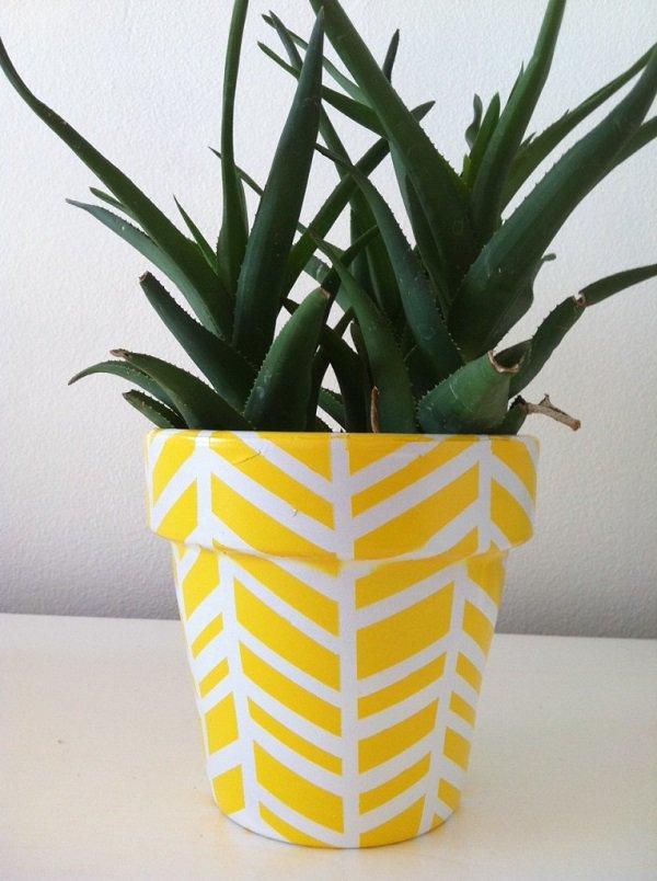Декор цветочных горшков липкой лентой-идеи и креатив