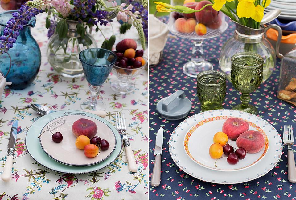Однотонная посуда-летняя сервировка стола