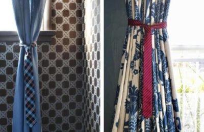 Оригинальные подхваты для штор-из галстука