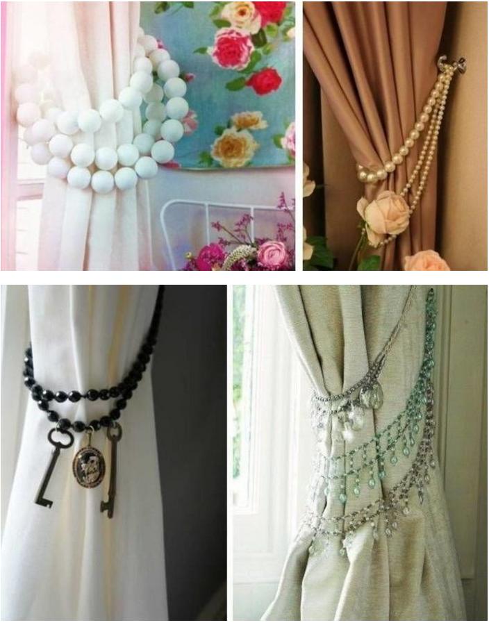 Оригинальные подхваты из бус и украшений-стиль handmade