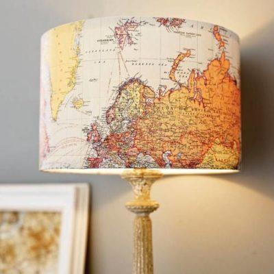 Самодельный абажур-идея с картой мира