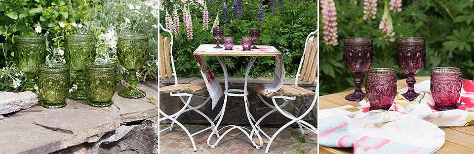 Цветные бокалы-летняя сервировка стола фото 1