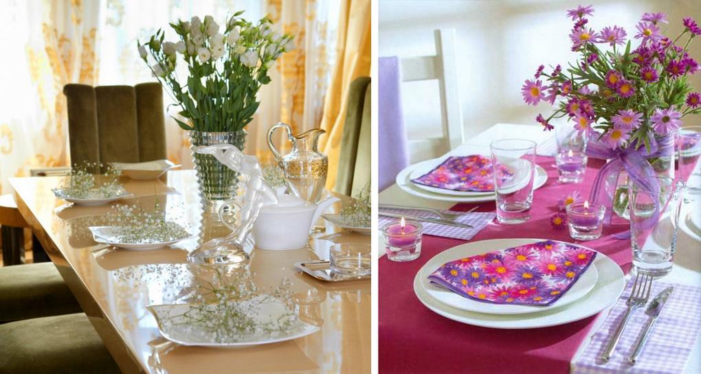 Цветочный декор-летняя сервировка стола