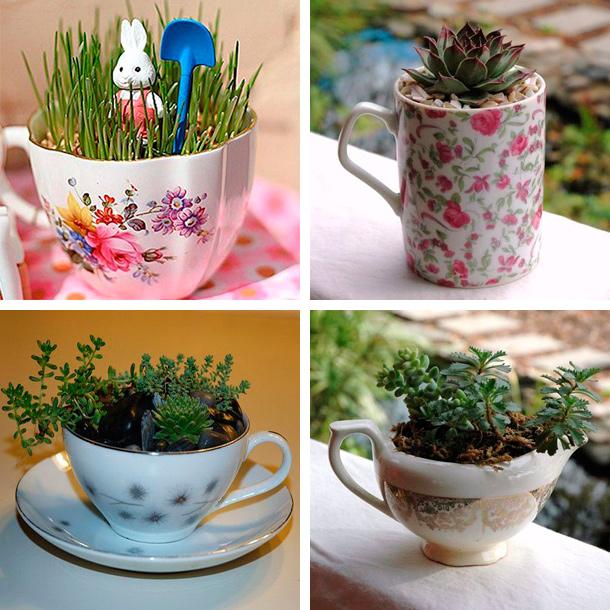 Цветы в чашке-оригинальные идеи