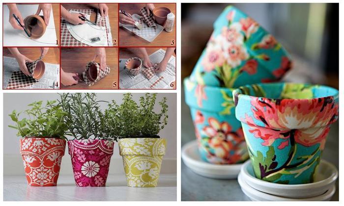 Ткань и кружева для декора цветочных горшков-креативные идеи