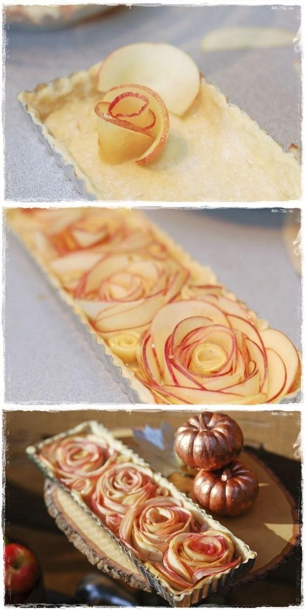 Розы из яблок-оригинальная выпечка подача