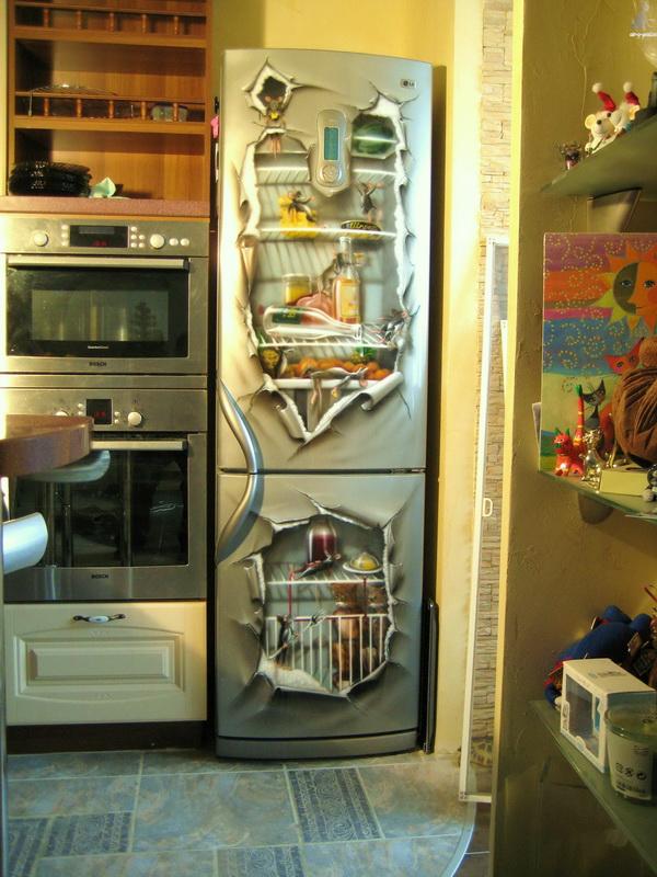 Декор холодильника-аэрография пример