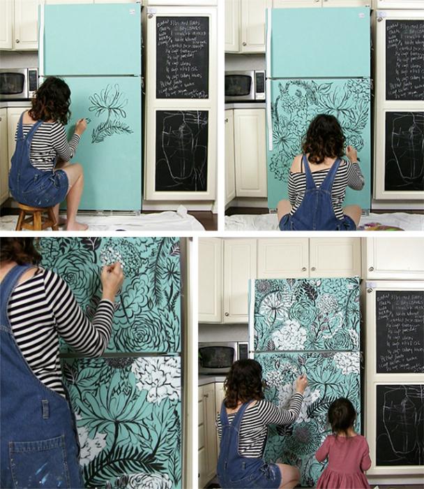 Декор холодильника-рисунки ручной работы
