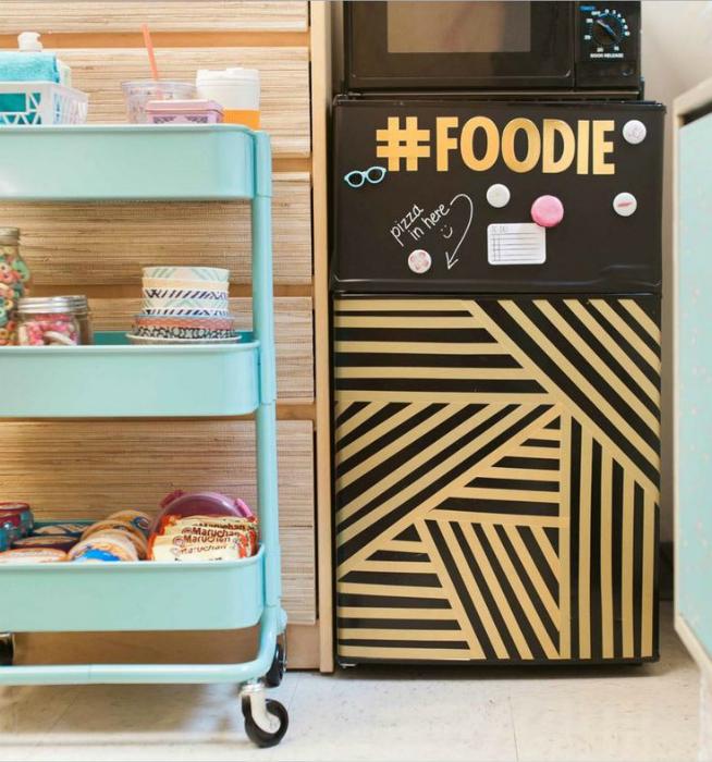 Декор холодильника самоклейкой-геометрия