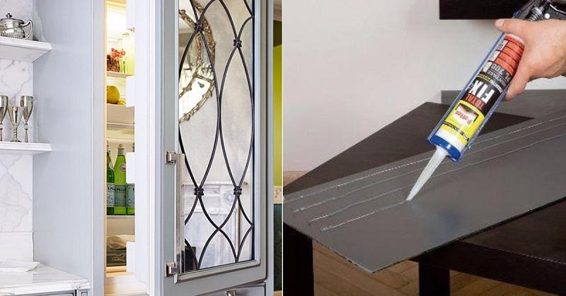 Декор старого холодильника зеркалом-пример работы