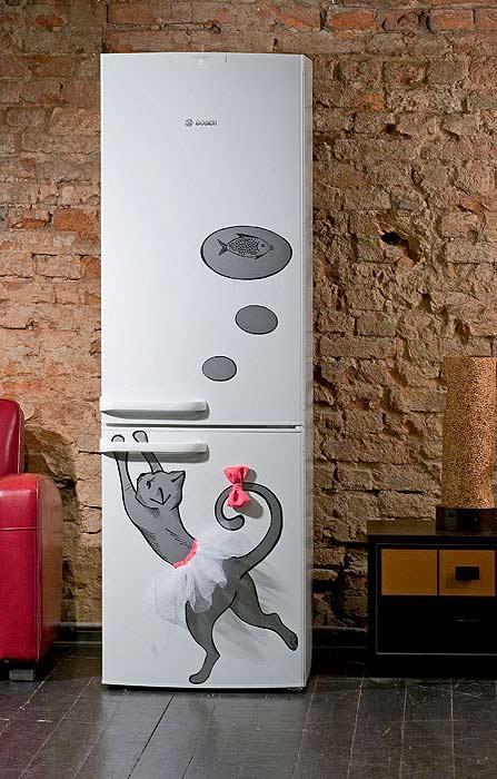 Холодильник-с забавным декором-идеи
