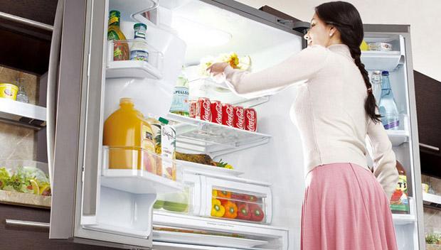 Какой компрессор лучше выбрать для холодильника - девушка возле холодильника