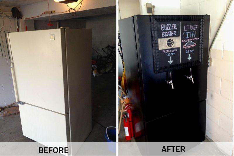 Мини-бар из старого холодильника-фото