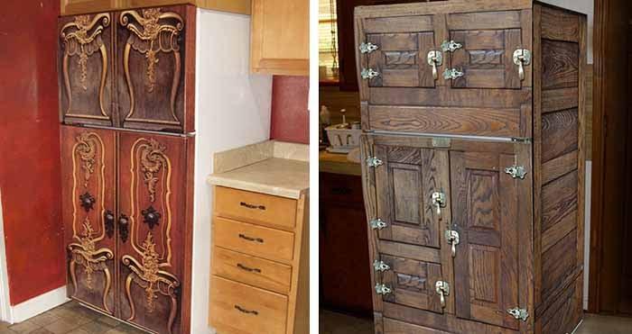 Обшивка старого холодильника деревом-идеи