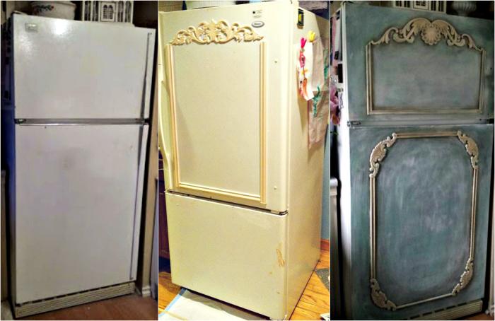 Преображение старого холодильника-с помощью краски и молдингов